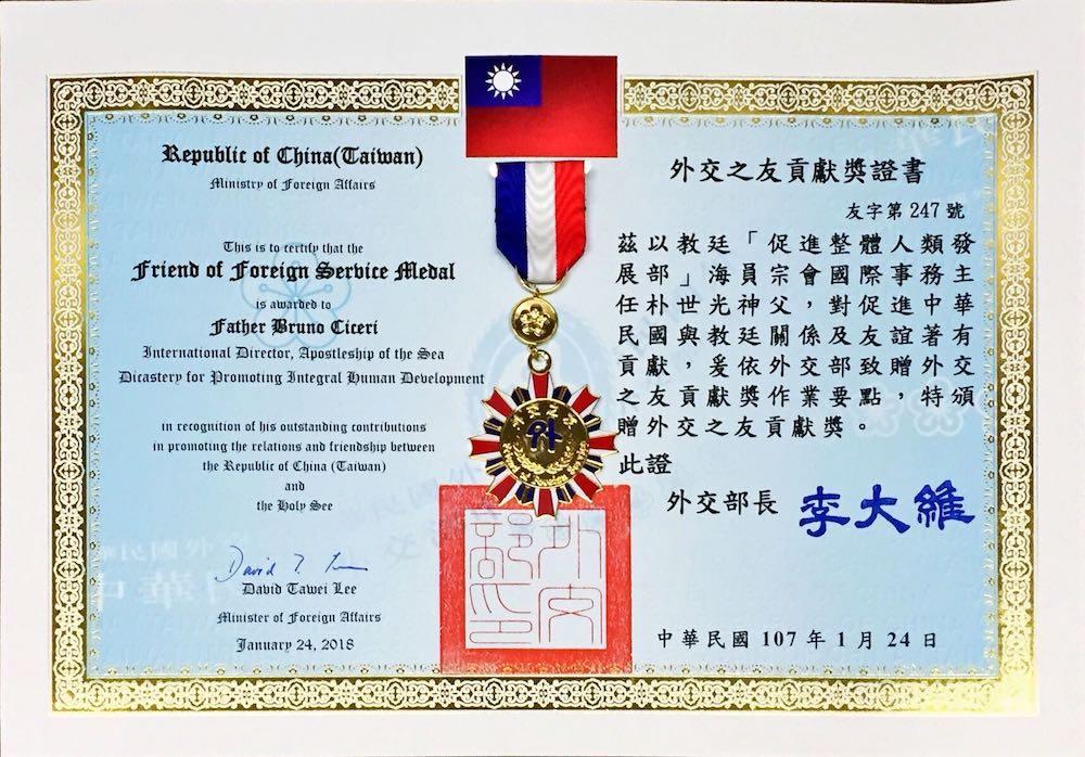 Taiwan premia padre Ciceri per il suo impegno diplomatico