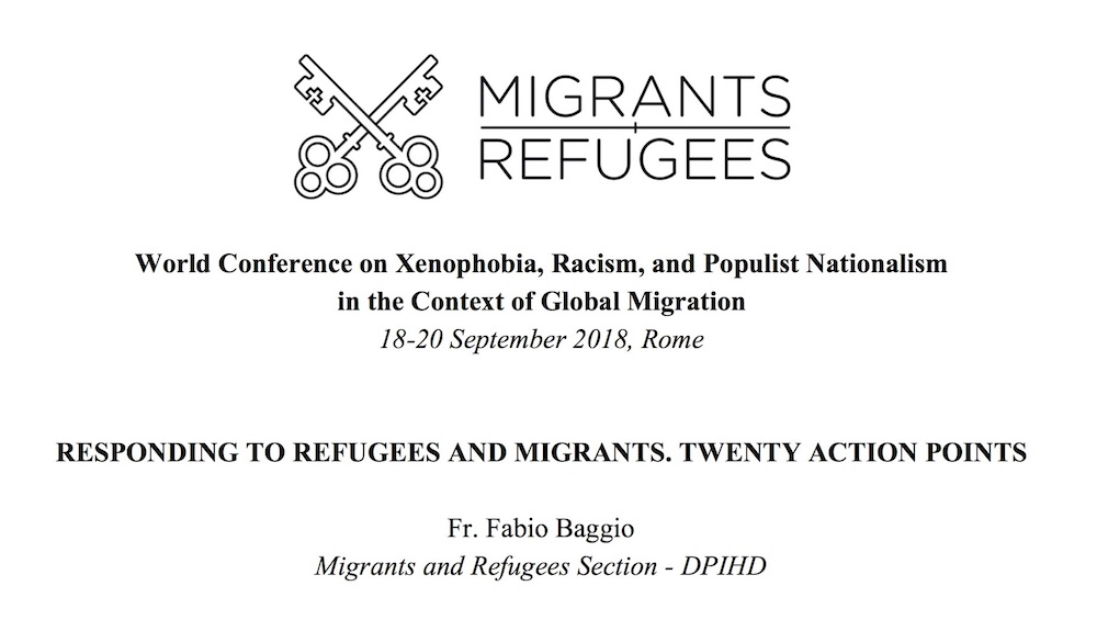 World Conference on Xenofobia (Baggio e papa Francesco)